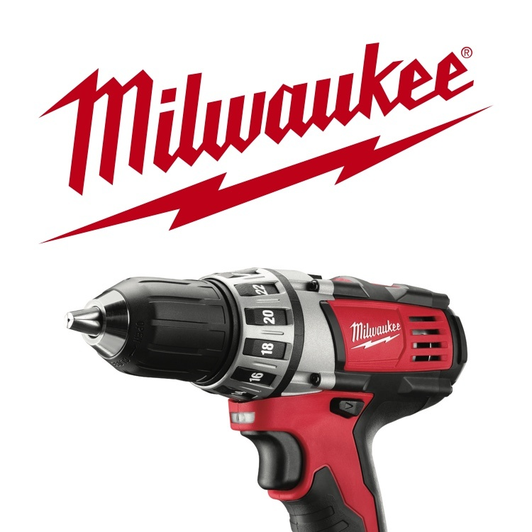 Milwaukee power drill with logo