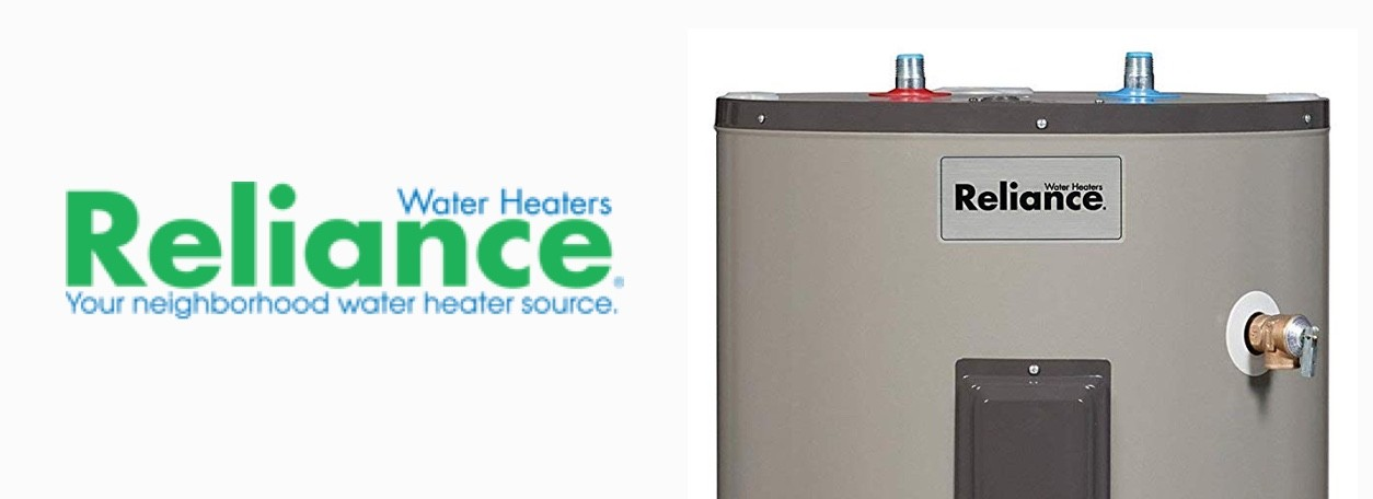 "Reliance water heater with logo and slogan ""Your neighborhood water heater source"""