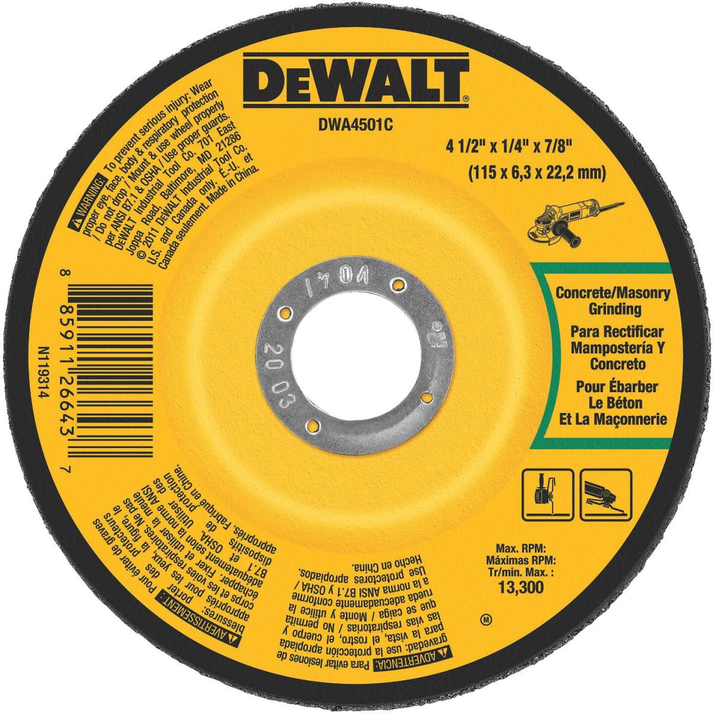 DeWalt HP Type 27 4-1/2 In. x 1/4 In. x 7/8 In. Masonry Cut-Off Wheel Image 1