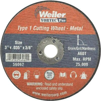 Weiler Vortec Type 1 3 In. x 1/32 In. x 3/8 In. Metal/Plastic Cut-Off Wheel