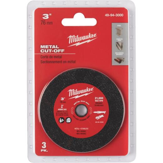Milwaukee 3 In. Metal Cut-Off Wheel (3-Pack)