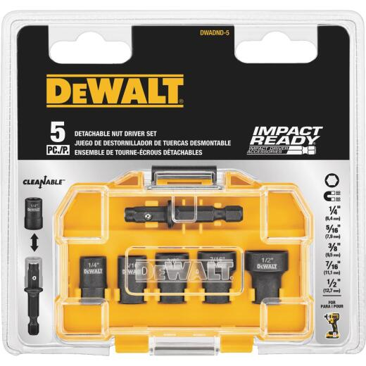 DeWalt Impact Ready 5-Piece Cleanable Magnetic Nutdriver Bit Set