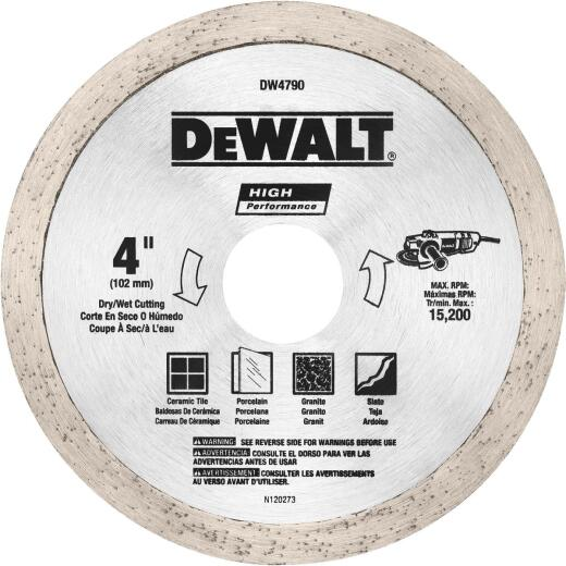 DeWalt High Performance 4 In. Continuous Rim Dry/Wet Tile Diamond Blade