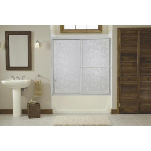 Sterling Deluxe Framed 56-1/4 In. W. X 55-1/4 In. H. Chrome Pebbled Glass Sliding Tub Door