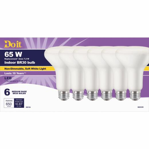 Do it 65W Equivalent Soft White BR30 Medium LED Floodlight Light Bulb, Title 20 (6-Pack)