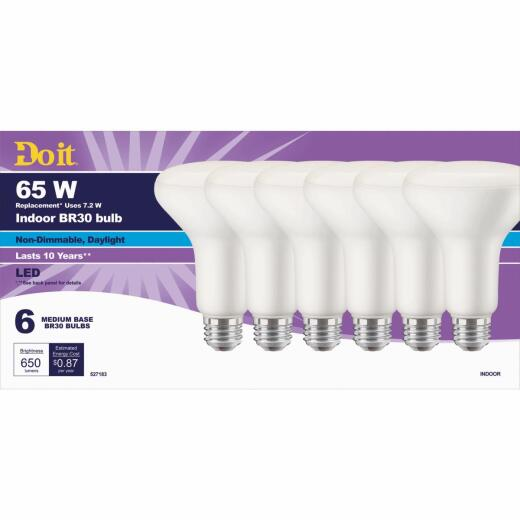 Do it 65W Equivalent Daylight BR30 Medium LED Floodlight Light Bulb, Title 20 (6-Pack)