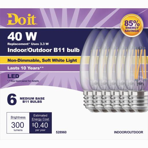 Do it 40W Equivalent Soft White B11Medium LED Decorative Light Bulb (6-Pack)