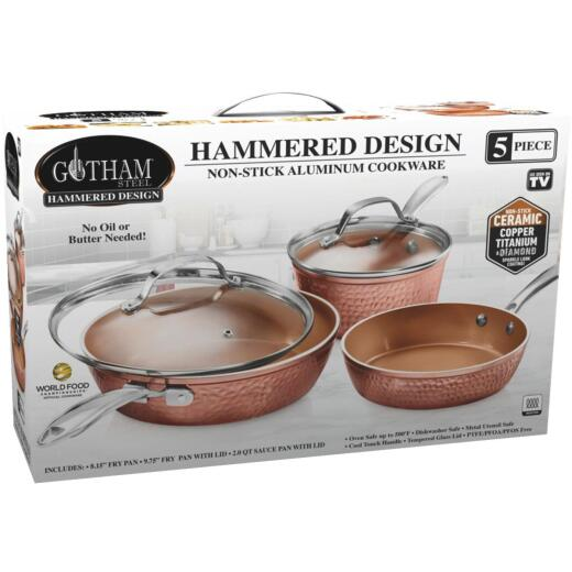 Gotham Steel Hammered Cookware Set (5 Piece)