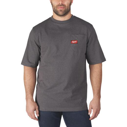 Milwaukee Small Gray Short Sleeve Men's Heavy-Duty Pocket T-Shirt