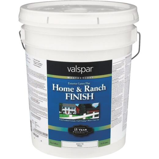 Valspar Exterior Latex Self Priming Flat Home And Ranch Finish, White, 5 Gal.