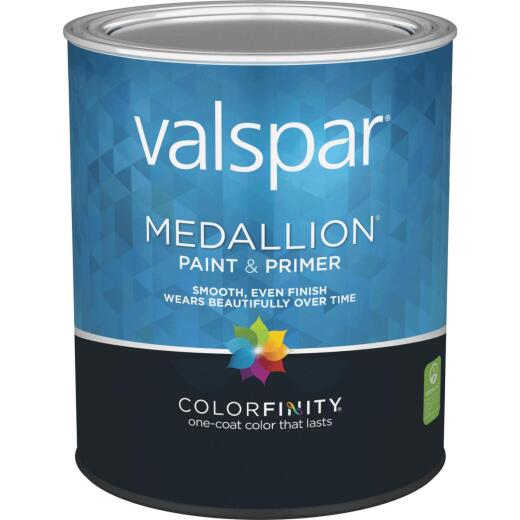 Valspar Medallion 100% Acrylic Paint & Primer Semi-Gloss Interior Wall Paint, White, 1 Qt.