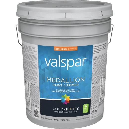 Valspar Medallion 100% Acrylic Paint & Primer Semi-Gloss Interior Wall Paint, White, 5 Gal.