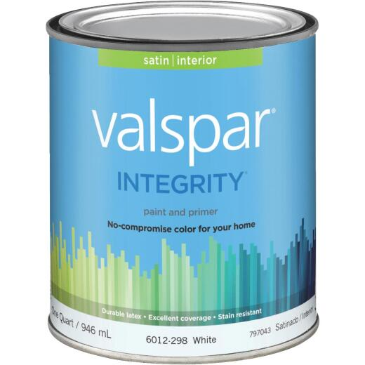 Valspar Integrity Latex Paint And Primer Satin Interior Wall Paint, White, 1 Qt.